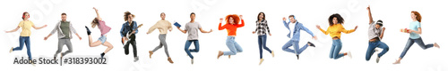 Fotografia Set of different jumping people on white background