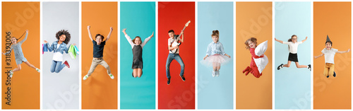 Obraz Collage of photos with different jumping children - fototapety do salonu