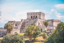 Tulum Archaeological Site. Ancient Mayan Pyramids Located In Riviera Maya, Mexico