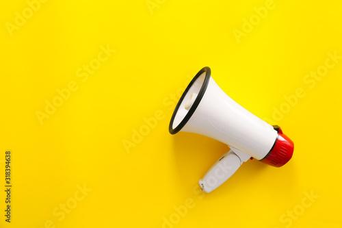 Photo Modern megaphone on color background