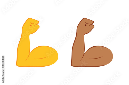 Flexed bicep color icon Fototapet