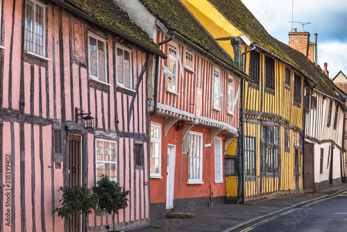 Half-timbered medieval cottages, Water Street, Lavenham, Suffolk, England, Unite Wallpaper Mural