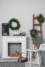Stylish Interior Of Living Room With Christmas Decor
