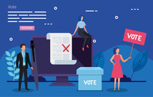 Poster Of Vote With Business People And Icons Vector Illustration Design