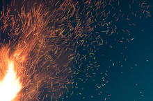 CLOSE-UP OF Sparks AT NIGHT