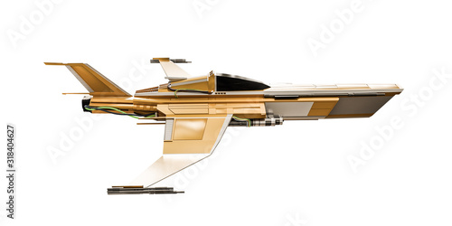 Fotomural spaceship fighter isolated on white
