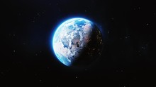 Planet The Earth, View From Space, Milky Way Galaxy. Planet Earth Rotating Animation, Zoom Through The Cosmos, Stars And Stratosphere To The European City. 3D Render