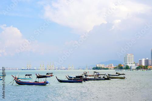 Fototapeta Boats In Andaman Sea Against Sky obraz na płótnie