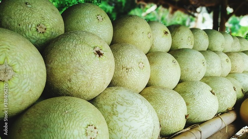 Melons Arranged For Sale In Market