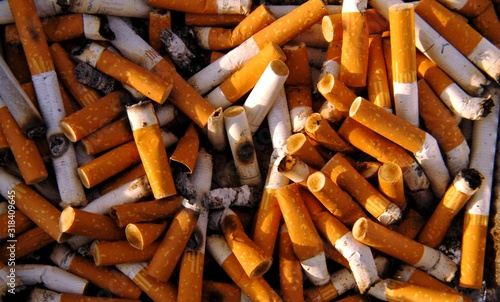 Full Frame Shot Of Cigarette Butts - fototapety na wymiar