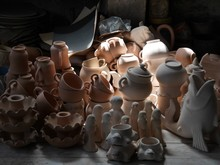 High Angle View Of Various Pottery At Market