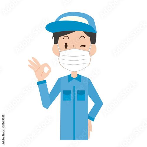 男性 予防 マスク 咳 風邪 OK 作業員 作業者 Fotobehang