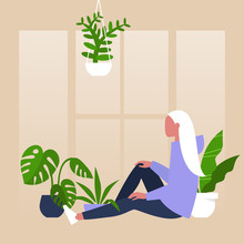 Young Female Character Sitting By The Window Surrounded By House Plants, Meditative Relaxation