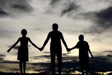 Silhouette Siblings Standing A...