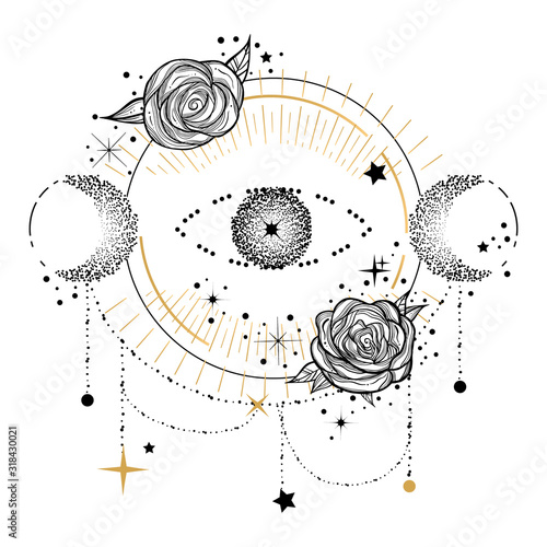 Boho design element or logo in flash tattoo style with eye, moon and roses Fototapete