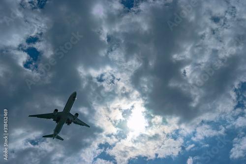雲の多い空を飛行する一機の旅客機