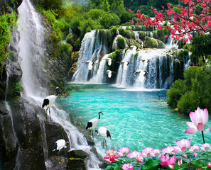Panel Szklany Nowoczesny wallpaper 3D natural waterfall view2