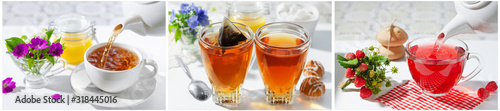 Fototapeta A Cup of hot tea with berries and honey . The process of brewing and pouring tea. obraz