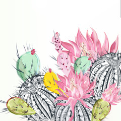 Panel Szklany Romantyczny Beautiful vector illustration with cactus plants and flowers
