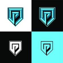 P Initial Shield Sport Logo De...