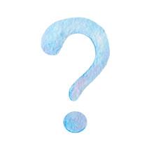 Blue Question Mark Icon. Sketc...
