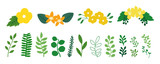 Fototapeta Kwiaty - Greenery icons for spring