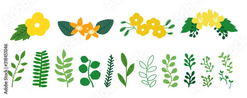 Obraz Greenery icons for spring - fototapety do salonu