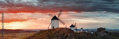 Fotografía Windmill sunset panorama