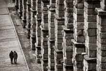 Aqueduct Closeup View In Segovia