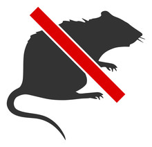 No Rat Vector Icon. Flat No Rat Symbol Is Isolated On A White Background.
