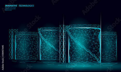 Fototapeta Oil tank fuel container. Gasoline refinery plant industry. Energy technology 3D low poly business concept. Chemical petrol production design vector illustration obraz