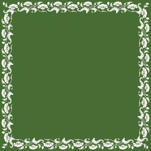 Vintage Square Frame With White Tulips. Art Nouveau Style. Vector.