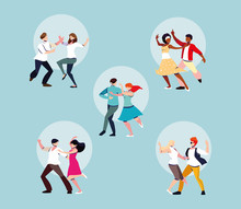 Set Of People Dancing Party, D...
