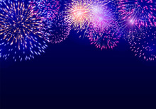 Colorful Vector Firework On Dark Blue Background