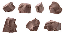 Dark Chocolate Pieces Isolated...