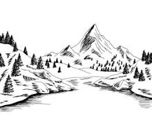 Mountain River Graphic Black W...