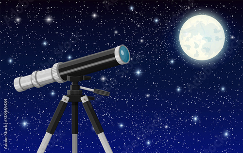 Fototapeta Observation through spyglass. Nature landscape with telescope, moon and stars. Astronomy, research, observe and education. Vector illustration in flat style obraz