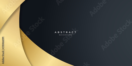 Obraz Black gold curve abstract background for presentation design.   - fototapety do salonu