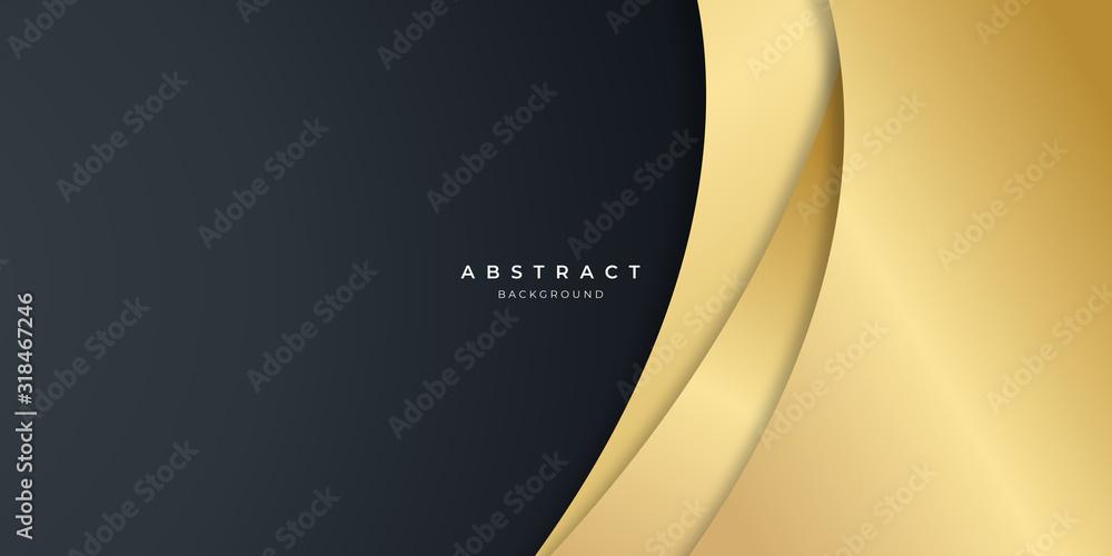 Fototapeta Black gold curve abstract background for presentation design.