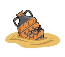 Ancient Greek Amphora Buried In The Sand, Old Antique Clay Greece Ceramic Bowl. Flat Vector Illustration Isolated On White Background.
