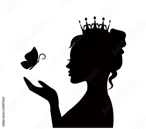 Obraz silhouette of a cute beautiful princess with a butterfly on the palm - fototapety do salonu