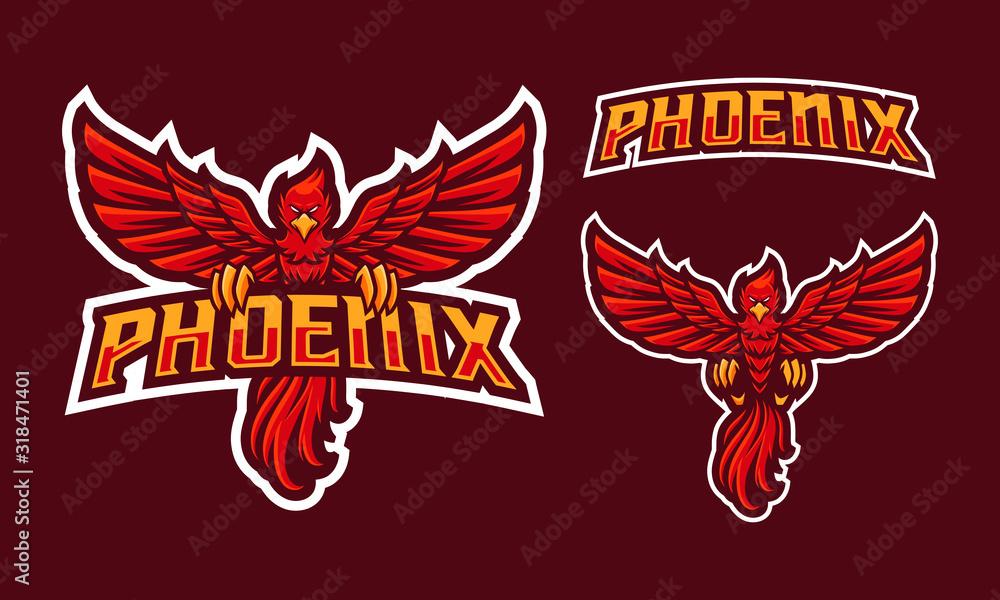 Fototapeta Phoenix mascot logo design for sport or e-sport logo isolated on dark background