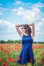 Young Woman Wearing Flowers St...