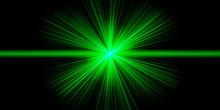 Crossing Green Neon Shining Lines In The Dark. Starwars. Laser Beams
