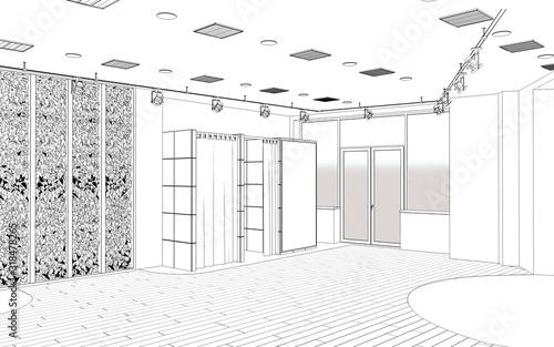 Fototapeta interior contour visualization, 3D illustration, sketch, outline obraz