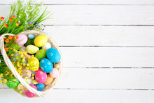 Colorful Easter Eggs In Basket...