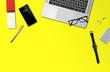 Leinwanddruck Bild - Office desk mockup top view isolated on yellow
