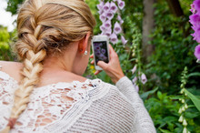Rear View Of Woman Photographing Foxgloves Through Smart Phone At Park