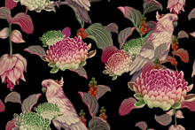 Seamless Floral Pattern. Leave...