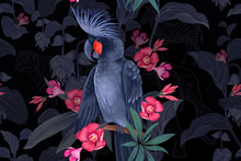Black Cockatoo On Branches Of Tropical Tree. Seamless Pattern.